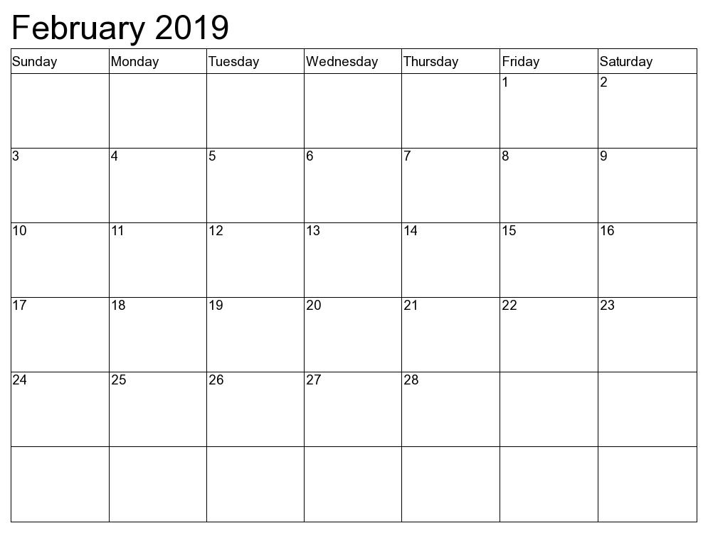 Canada Calendar For February 2019