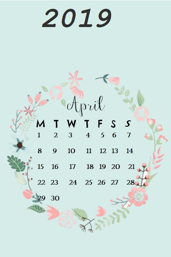 Circle Flower April 2019 Iphone Wallpaper Calendar
