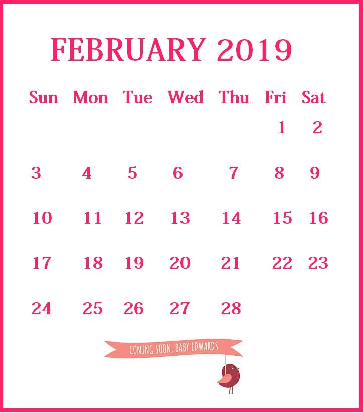 Custom February 2019 Calendar
