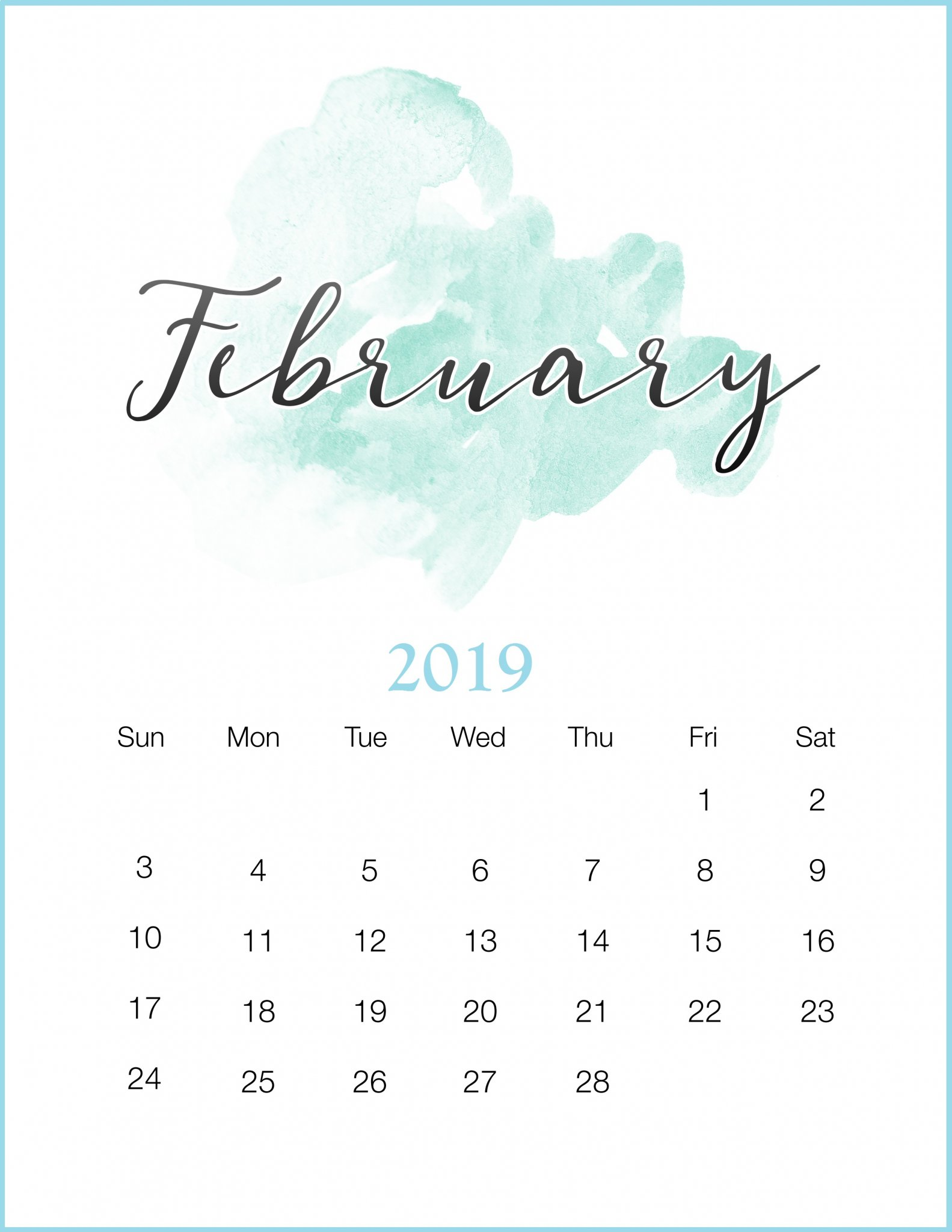 cute february 2019 calendar monthly printable