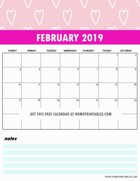 Cute February 2019 Wall Calendar