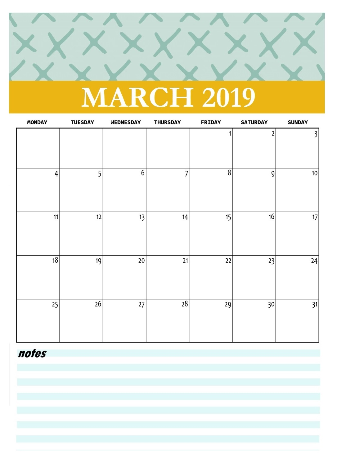 Cute March 2019 Desk Calendar