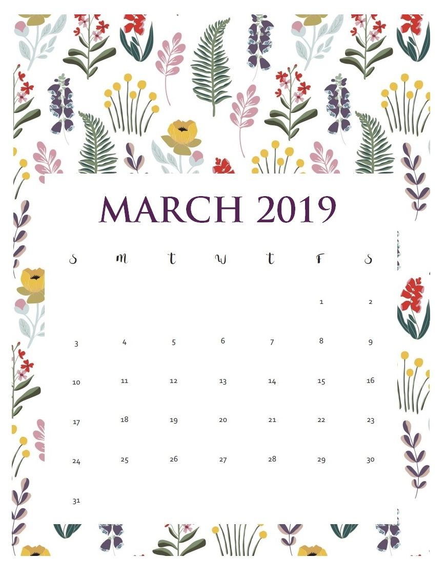 Cute March 2019 Wall Calendar