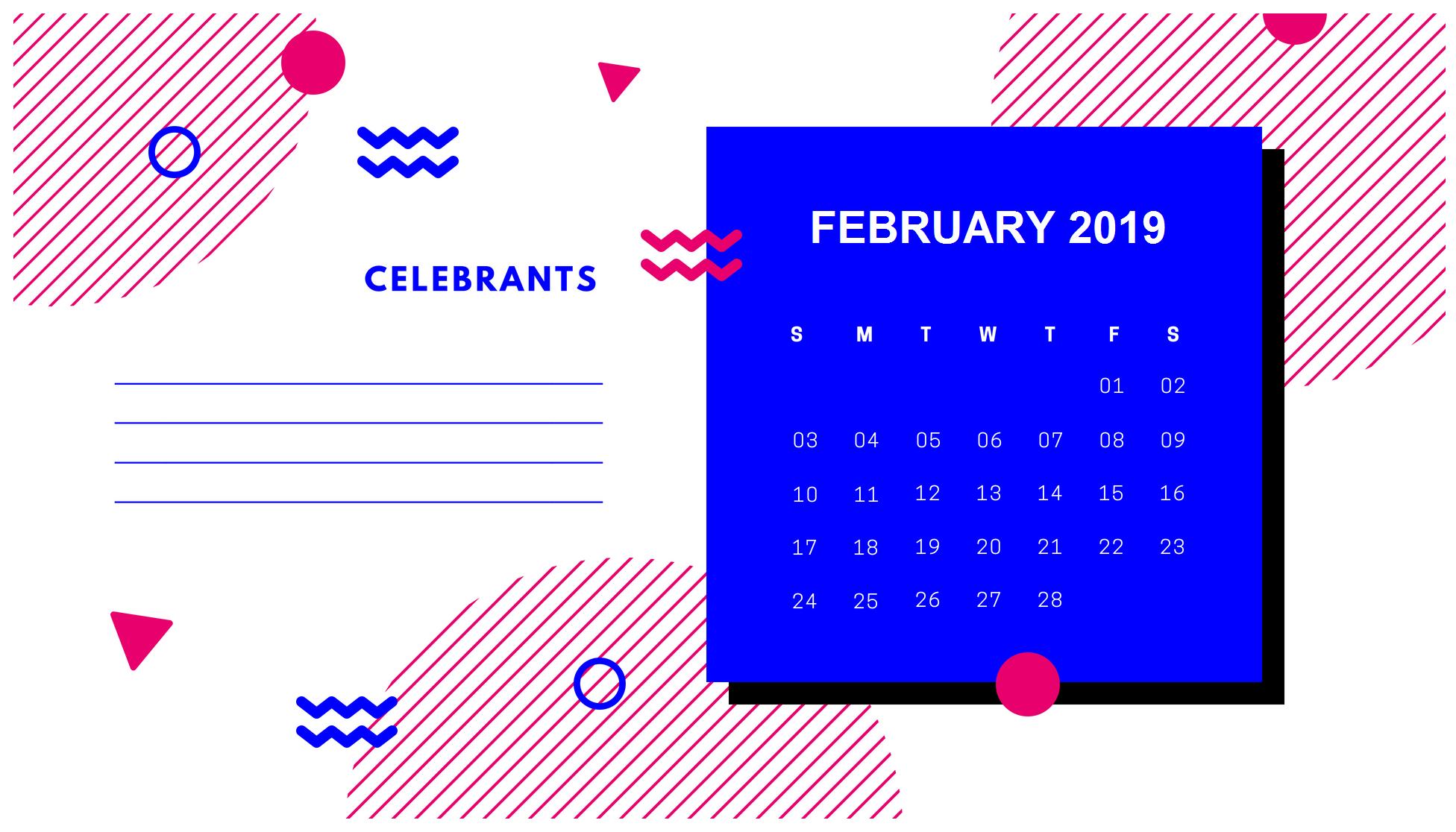Cute Printable 2019 February Calendar