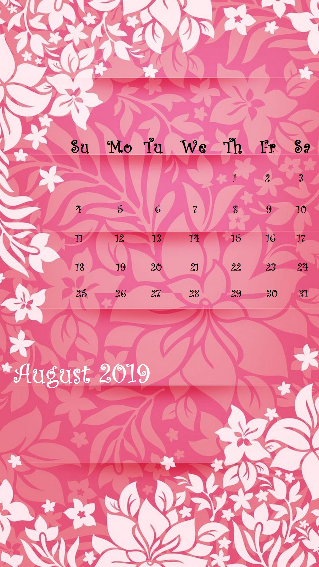Cute floral Design August 2019 iPhone Background