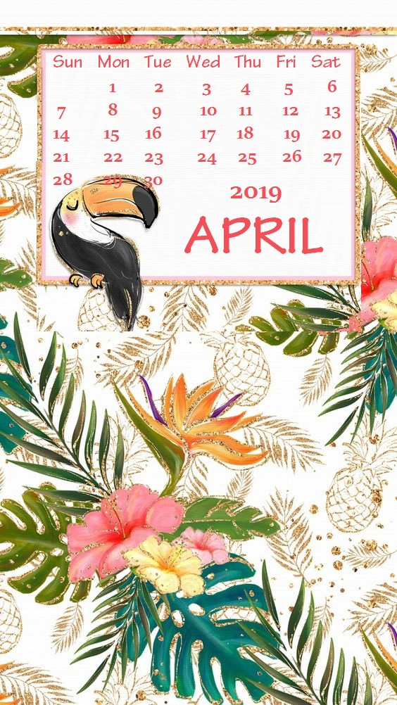 Cute iPhone April 2019 Calendar Background