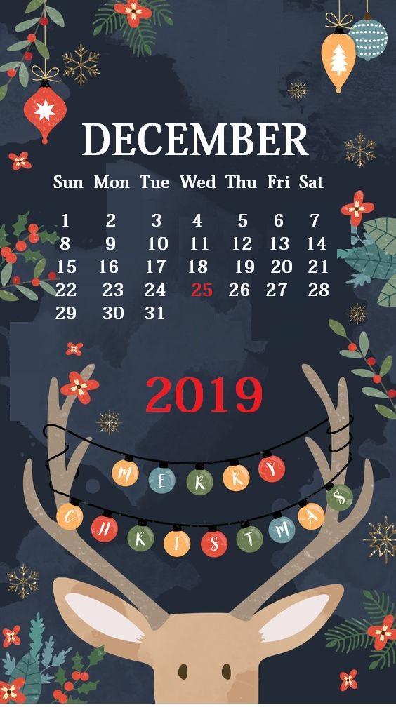 Cute iPhone December 2019 Calendar Background