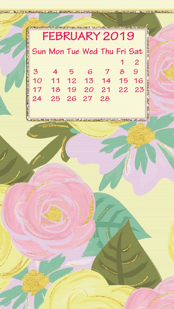 Cute iPhone February 2019 Calendar Background