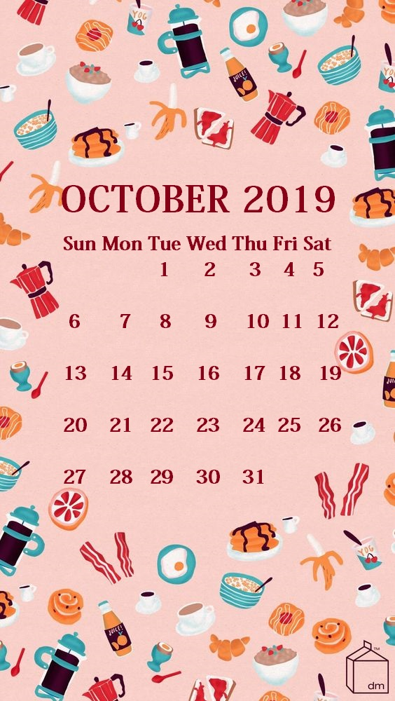 Cute iPhone October 2019 Calendar Background