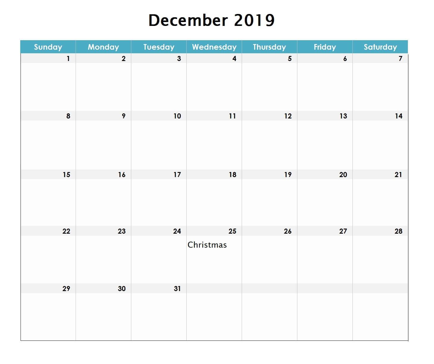 December 2019 Excel Calendar