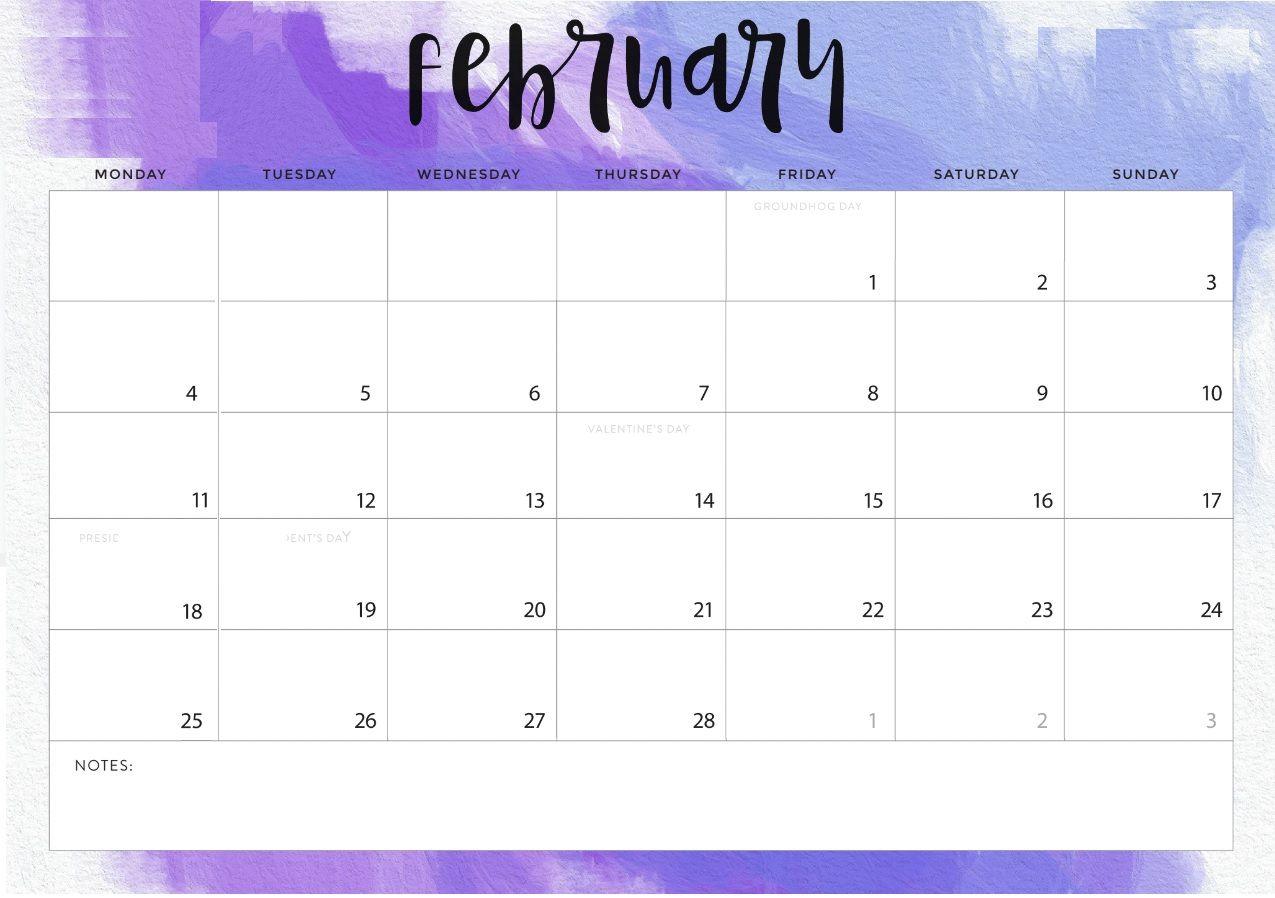 Desk Calendar 2019 February