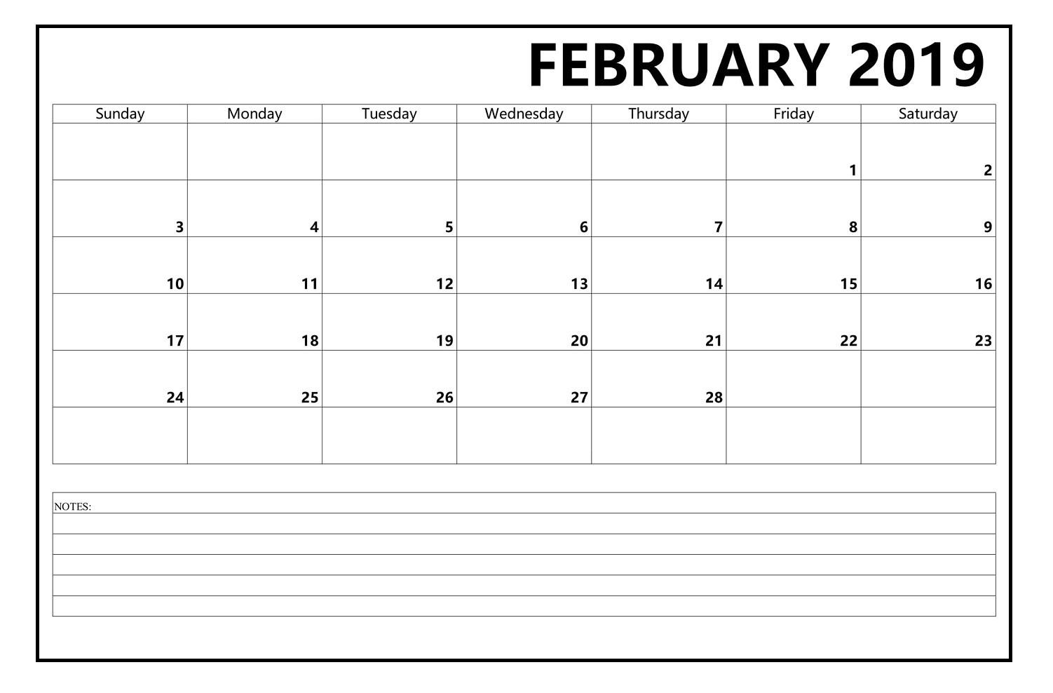 Editable February 2019 Blank Calendar