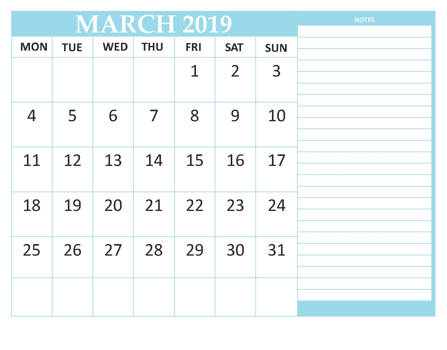 Editable March 2019 Blank Template