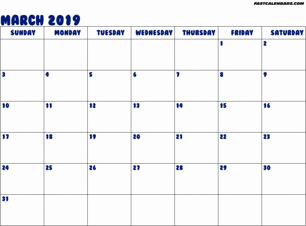 Editable March 2019 Printable Calendar