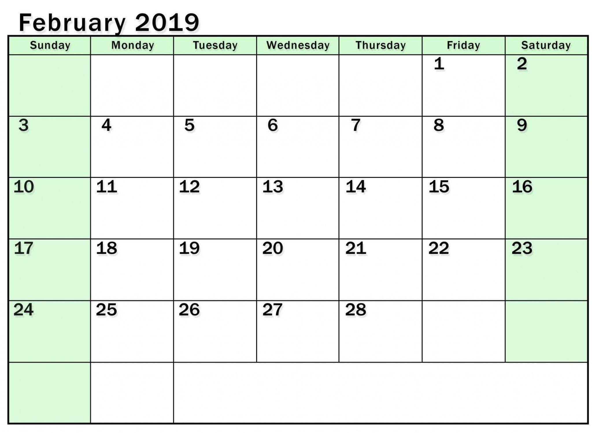 Editable Monthly Calendar February 2019