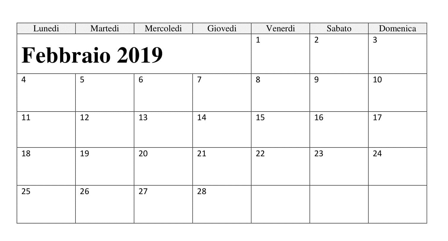Febbraio 2019 Calendario Mensile