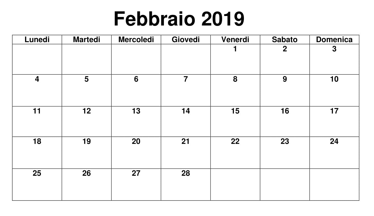 Febbraio 2019 Calendario Modificable