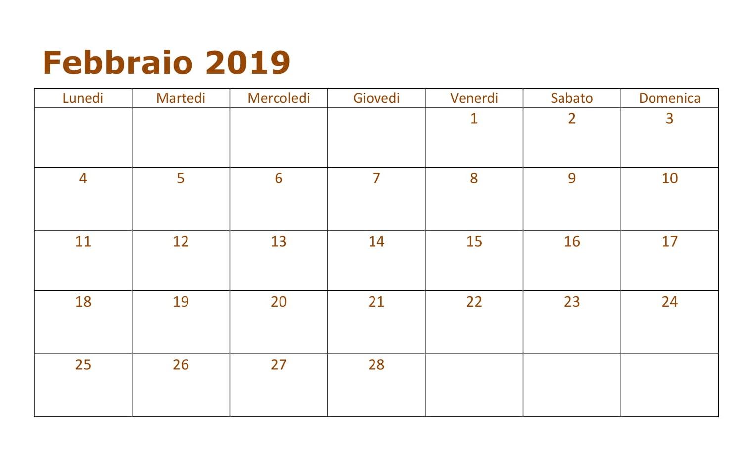 Febbraio 2019 Calendario Professional