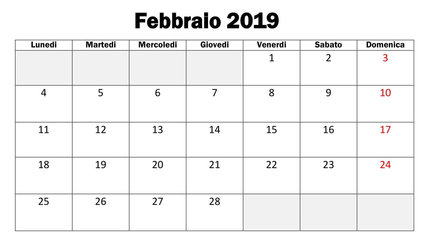 Febbraio 2019 Calendario Stampabile