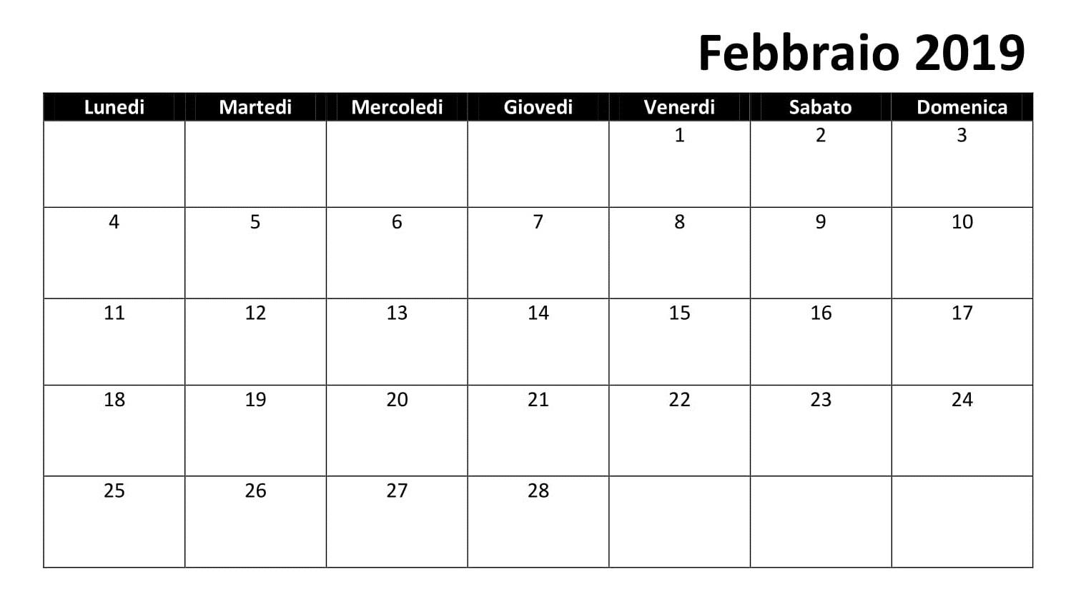 Febbraio 2019 Calendario Tavolo