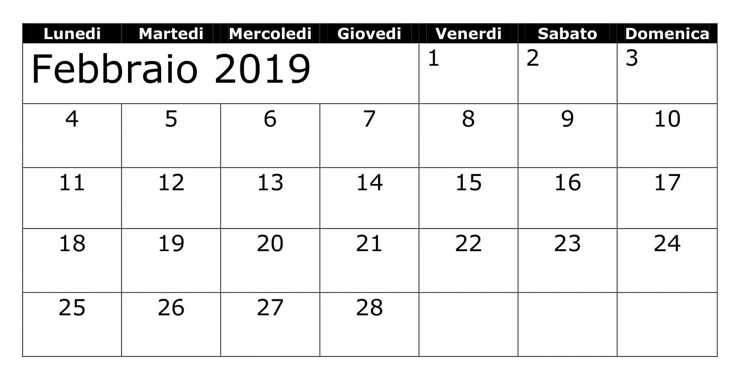 Febbraio 2019 Calendario Titolo