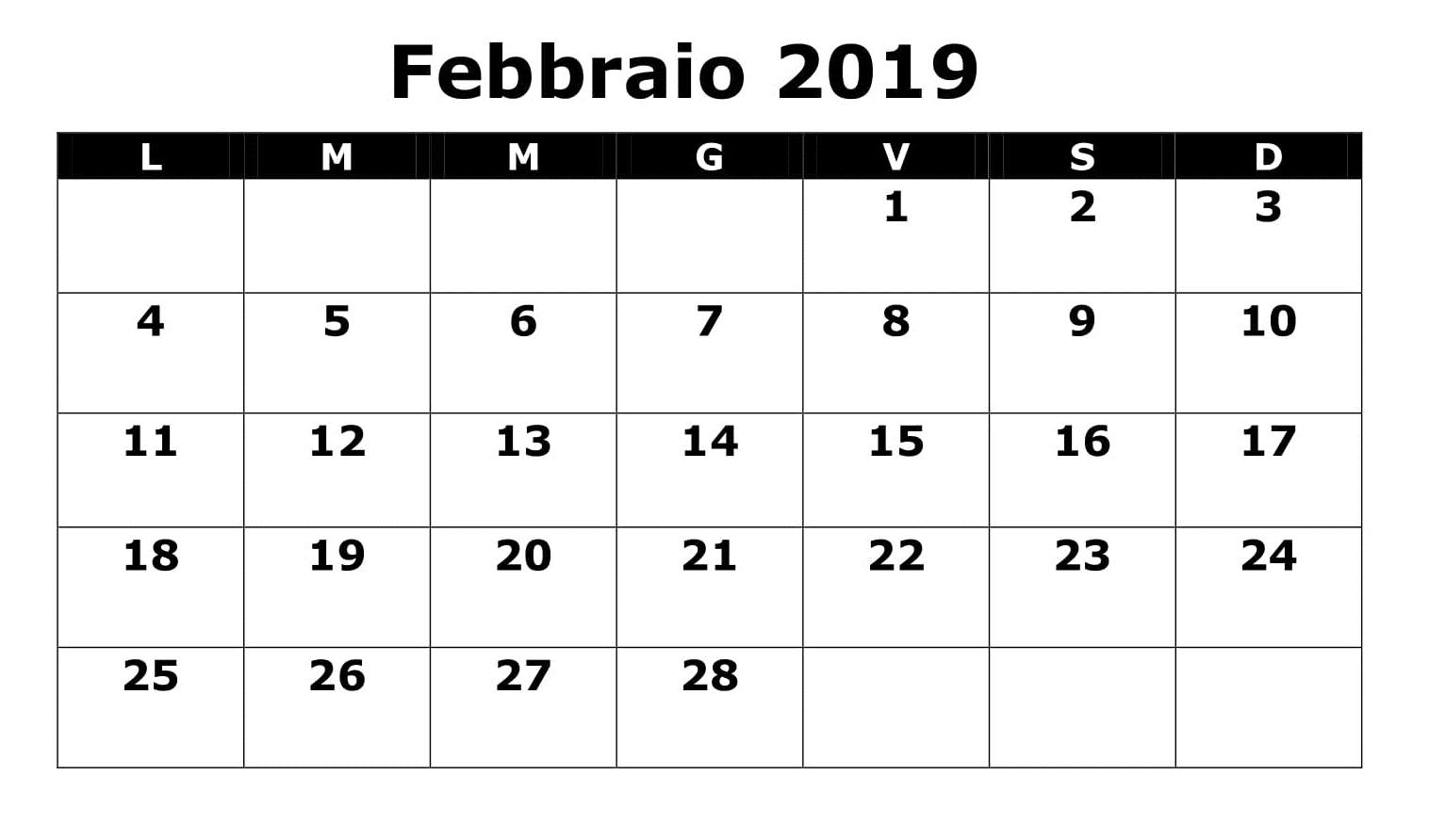 Febbraio Con Note Calendario 2019