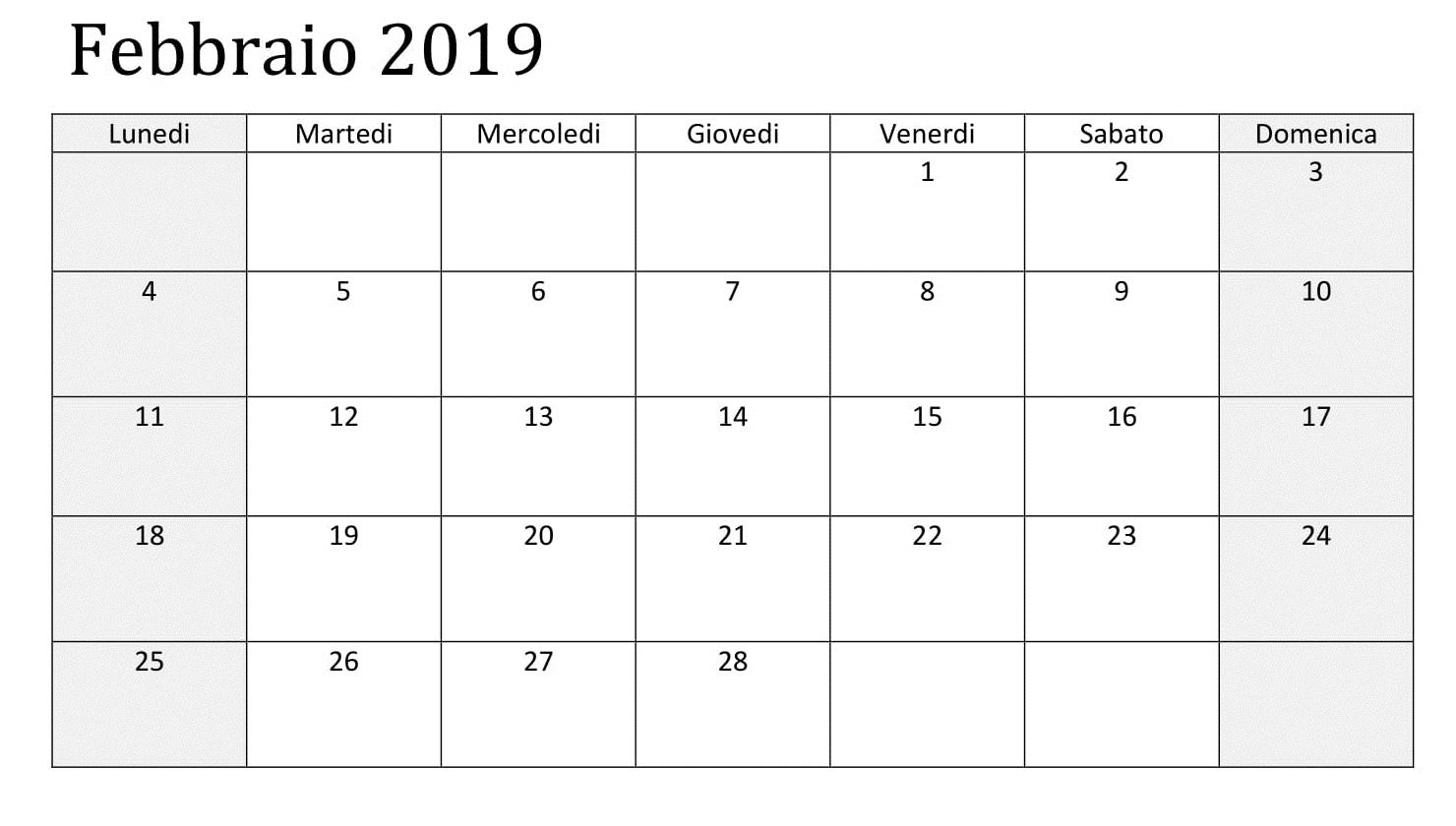 Febbraio Vuoto Calendario 2019