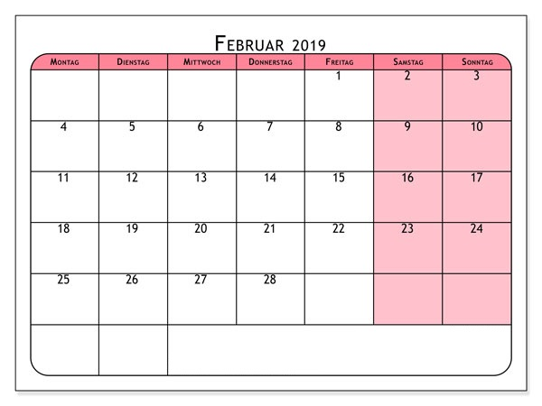 Februar 2019 Kalender MS Office