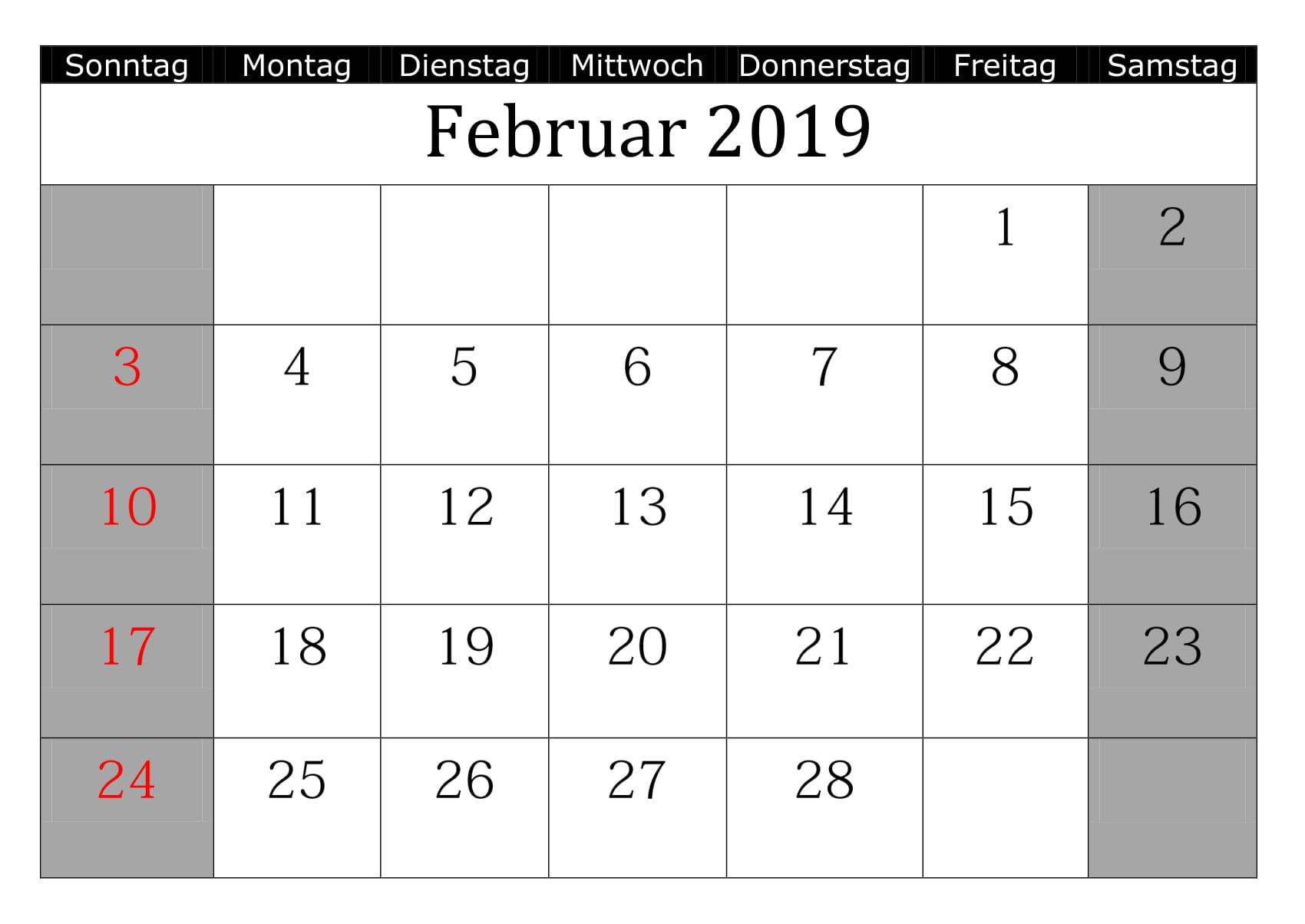 Februar Kalender 2019 Mit Feiertagen