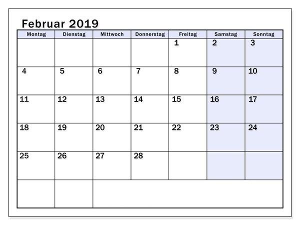Februar Kalender 2019 Word Für Schulen