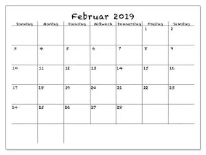 Februar Kalender 2019 Zum Ausdrucken