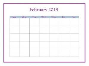 February 2019 Blank Planner Printable