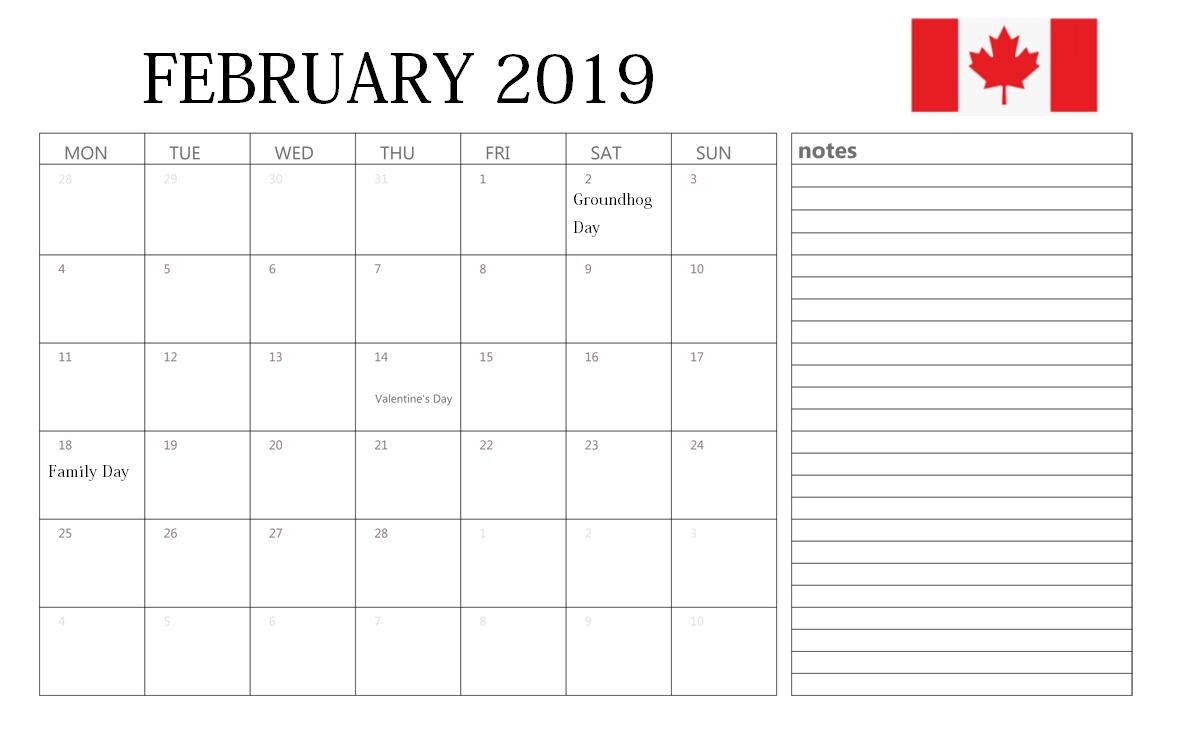 February 2019 Calendar Canada
