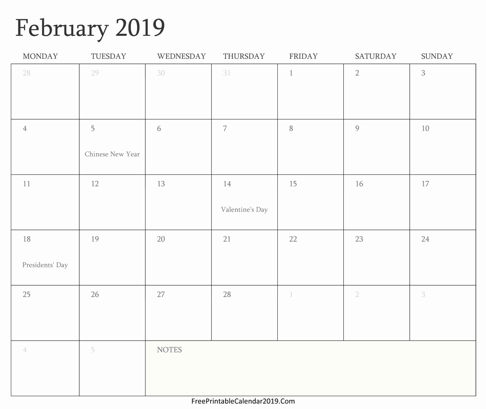 February 2019 Calendar PDF With Holidays
