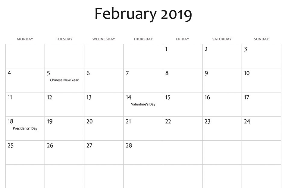 February 2019 Calendar UK With Holidays
