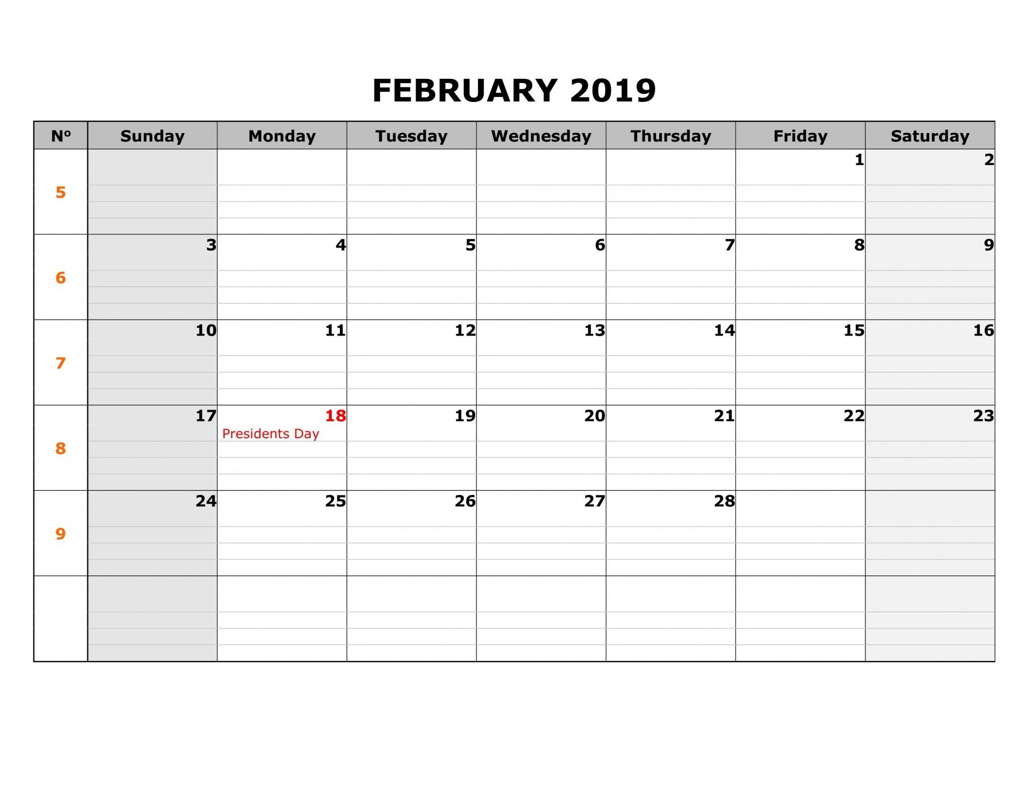 February 2019 Calendar UK With National Holidays