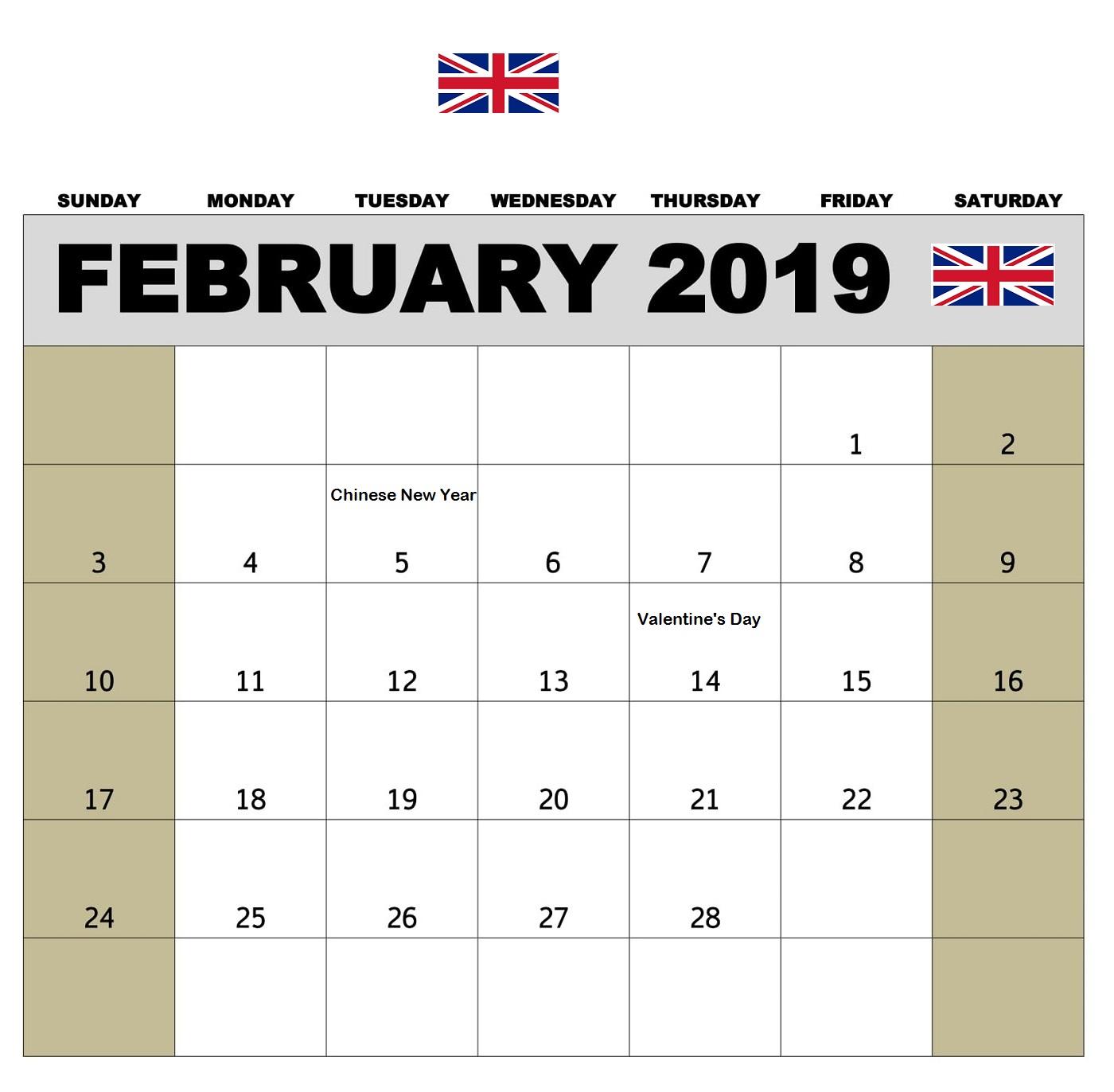 February 2019 Calendar UK With Public Holidays