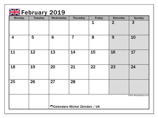 February 2019 Calendar United Kingdom