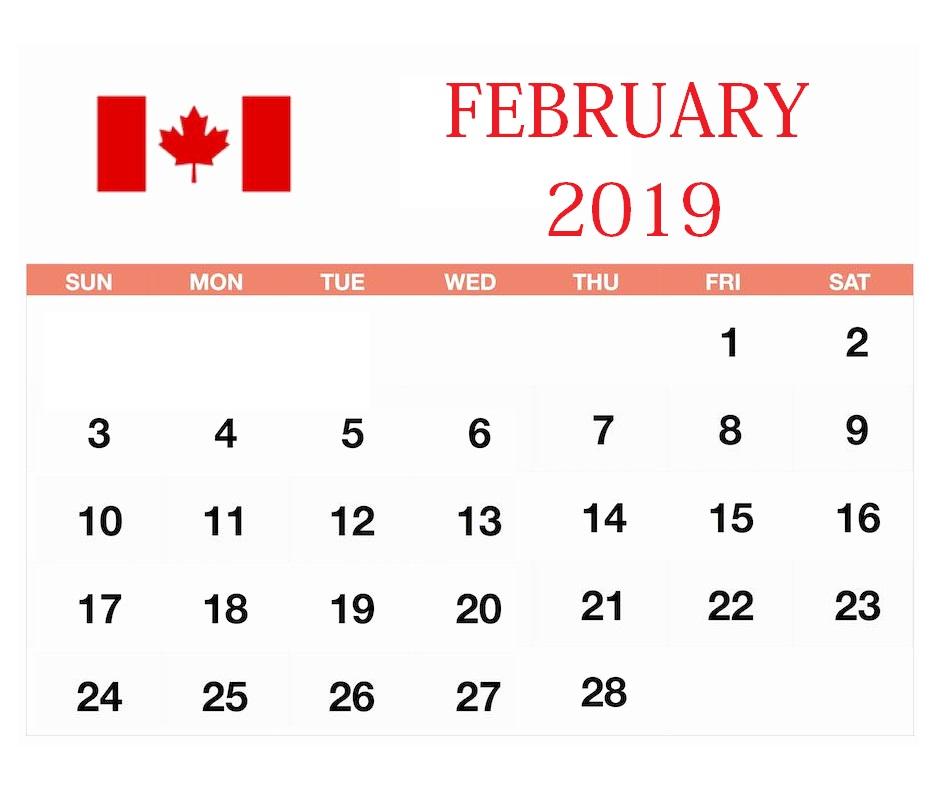 February 2019 Canada Holidays Calendar