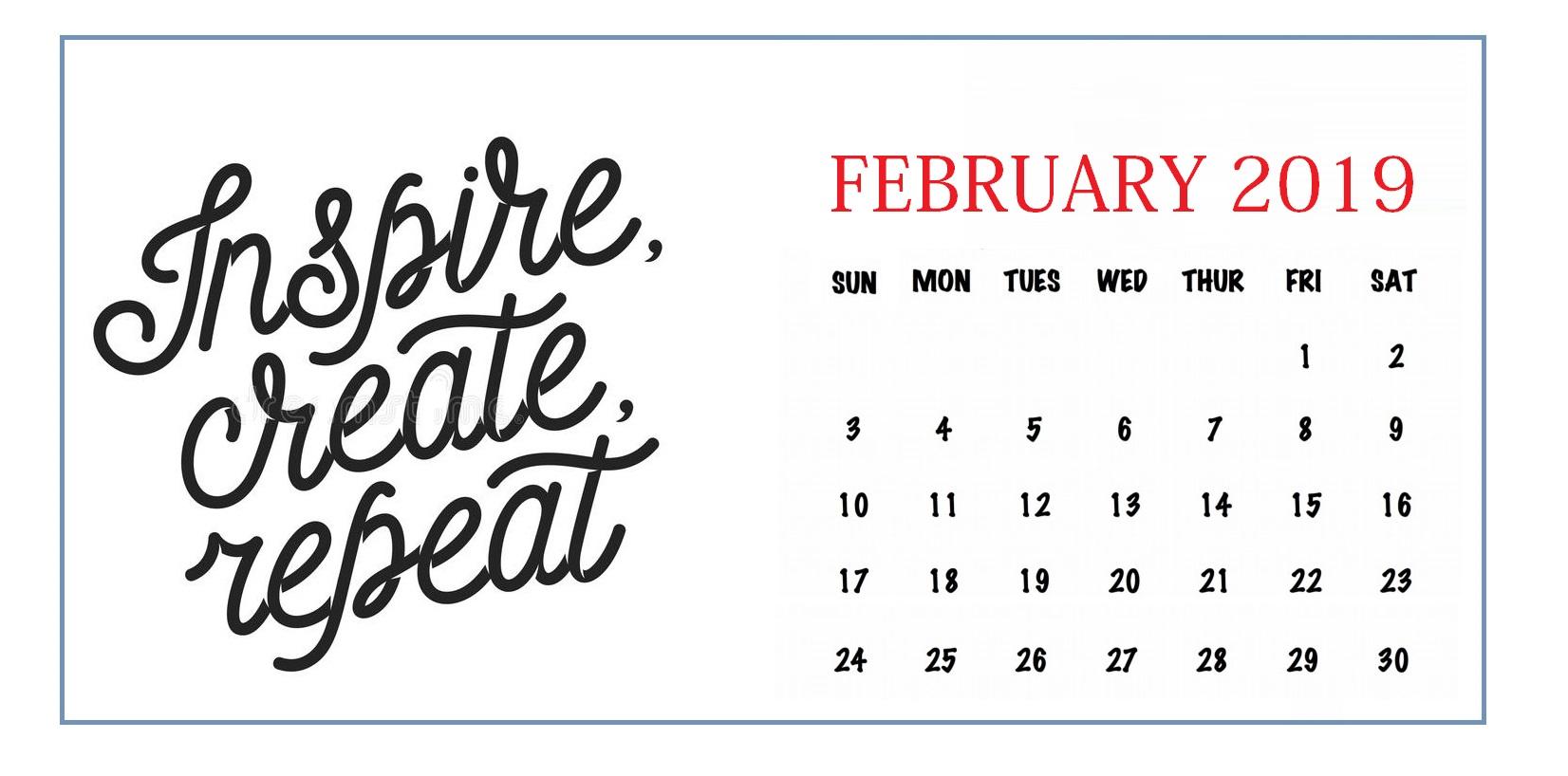 February 2019 Customized Calendar