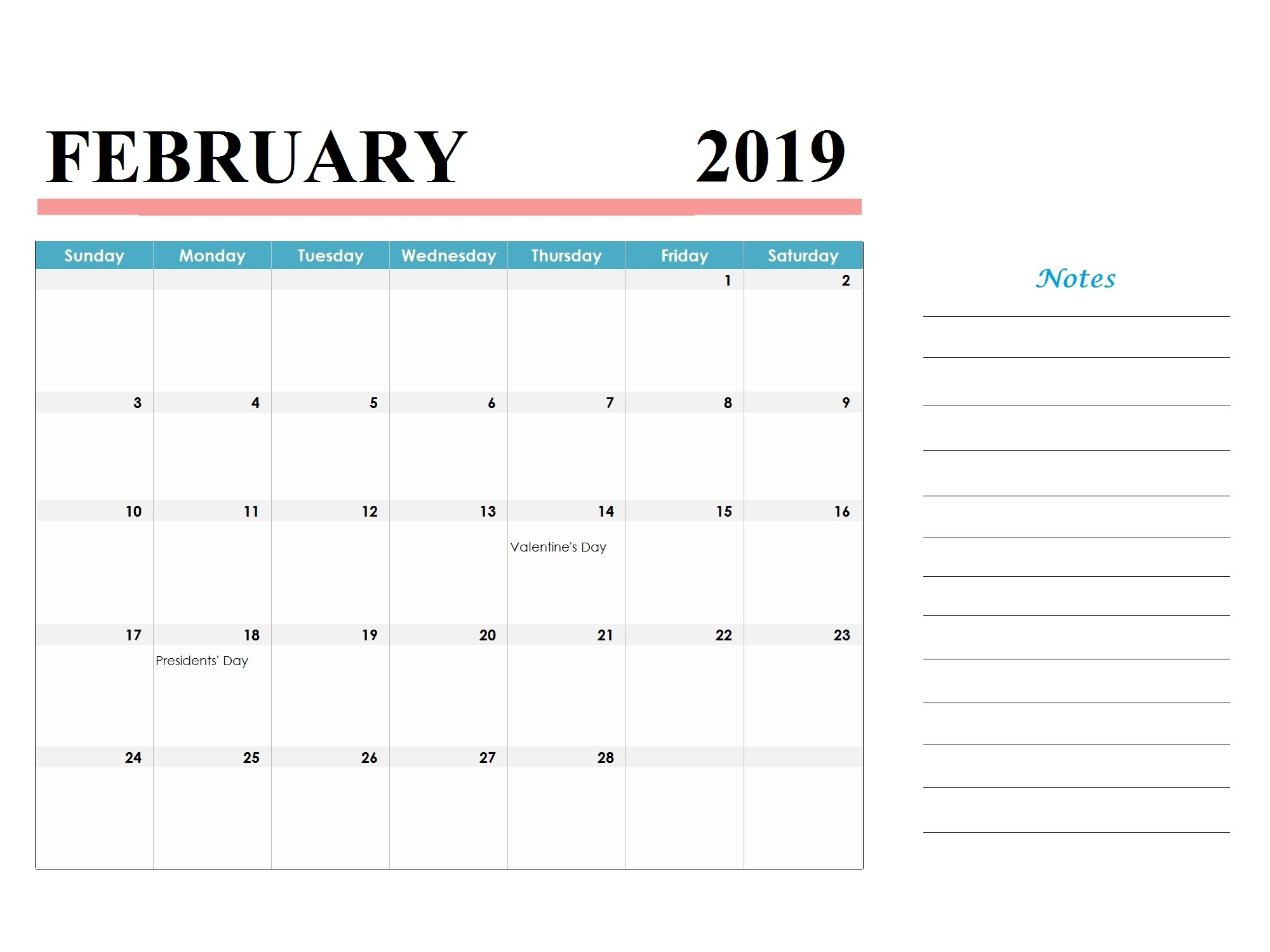 February 2019 Holidays Calendar Template