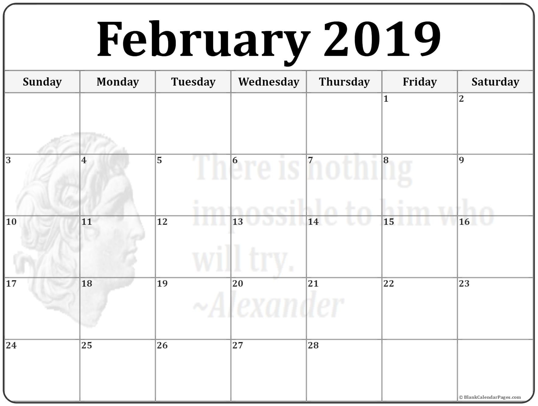 Printable 2019 Monthly Calendars February 2019 calendar