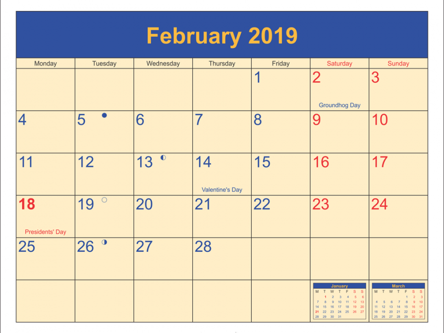 February 2019 UK Calendar With Holidays