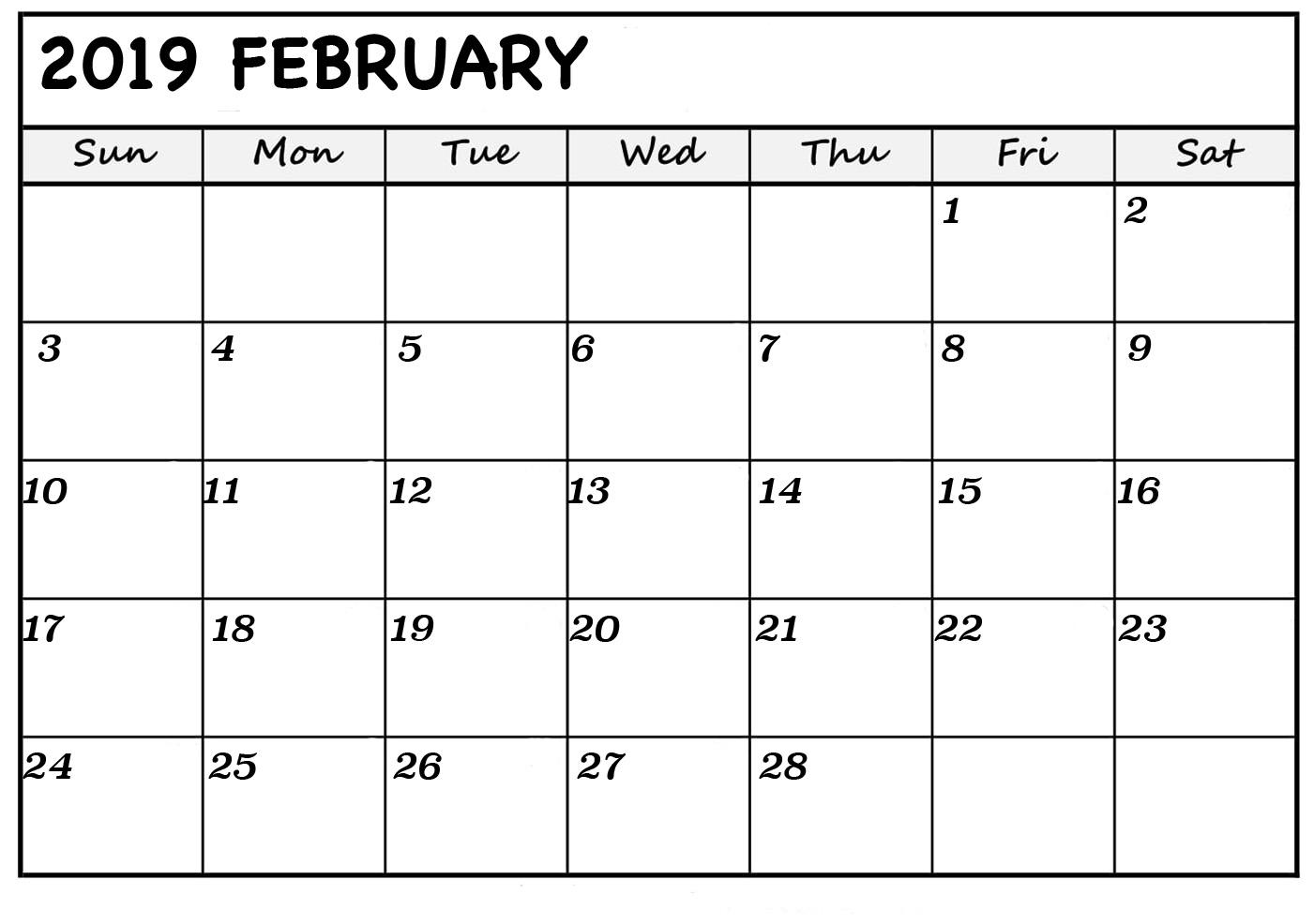 February Calendar 2019 PDF