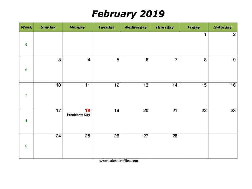 February Calendar 2019 Printable With Holidays