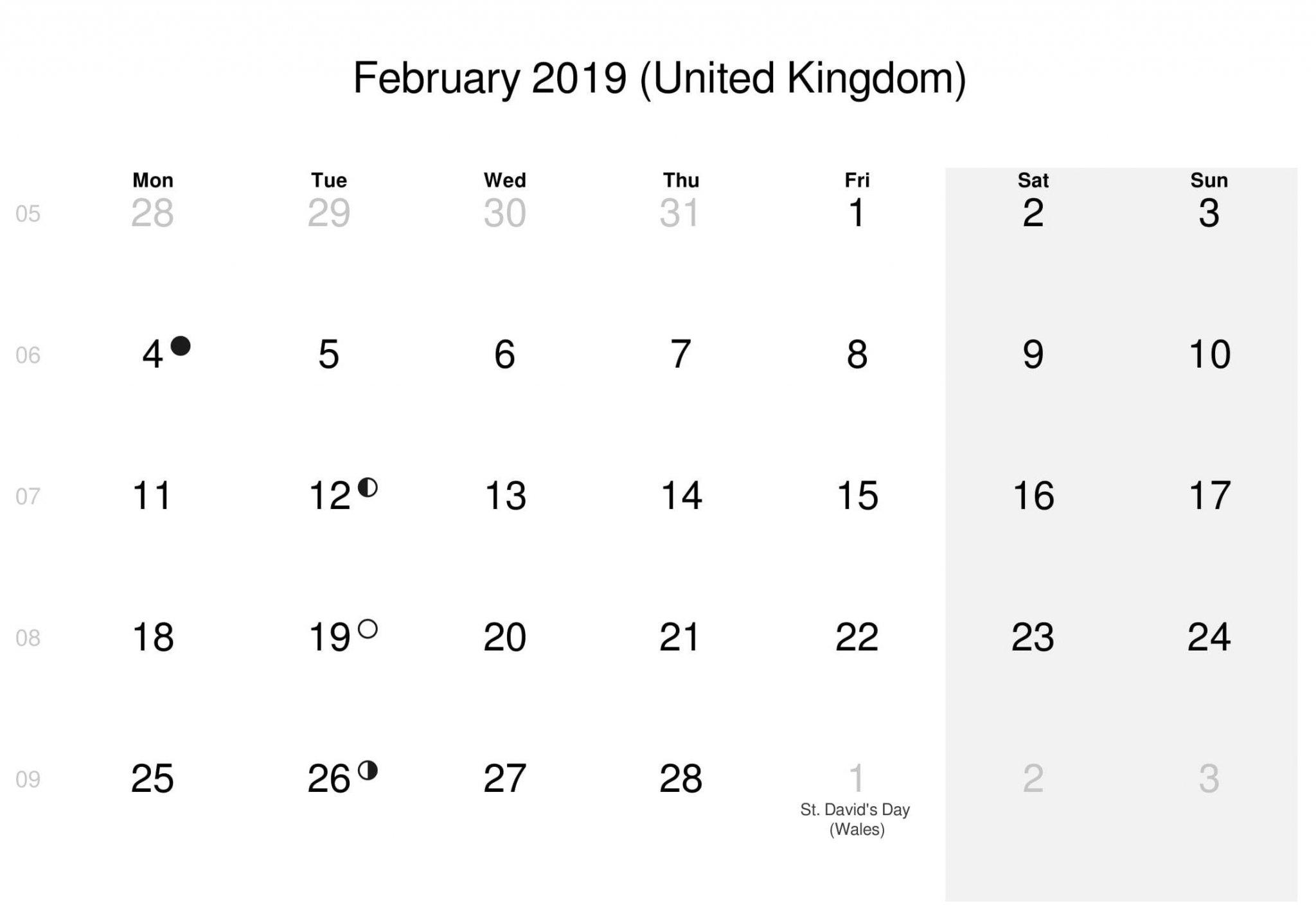 February Calendar 2019 UK