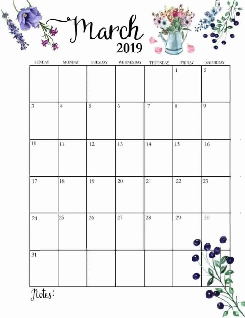 Editable March Calendar 2019