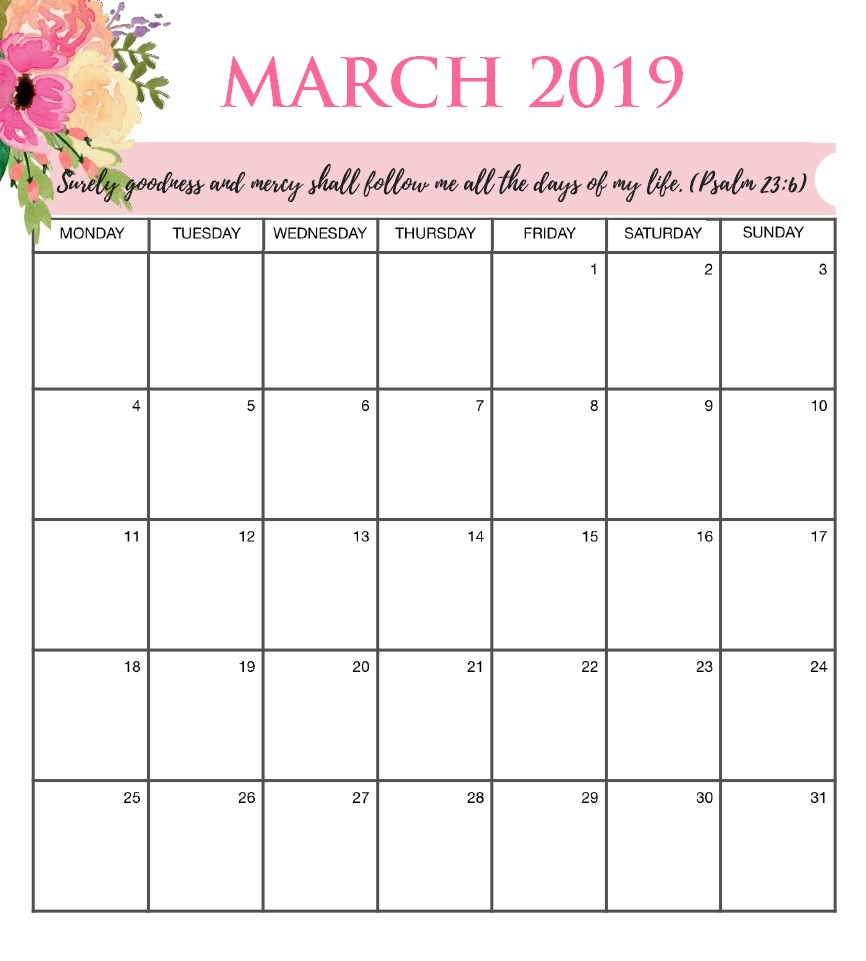 Floral March 2019 Wall Calendar