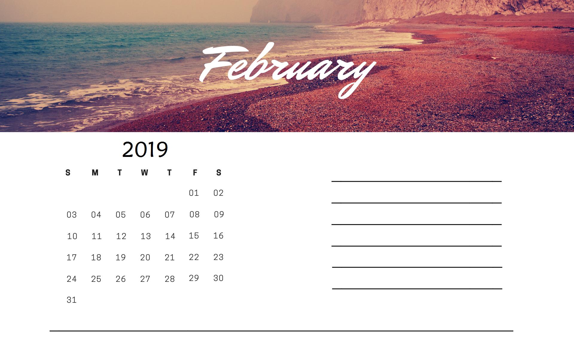 Free February 2019 Editable Calendar