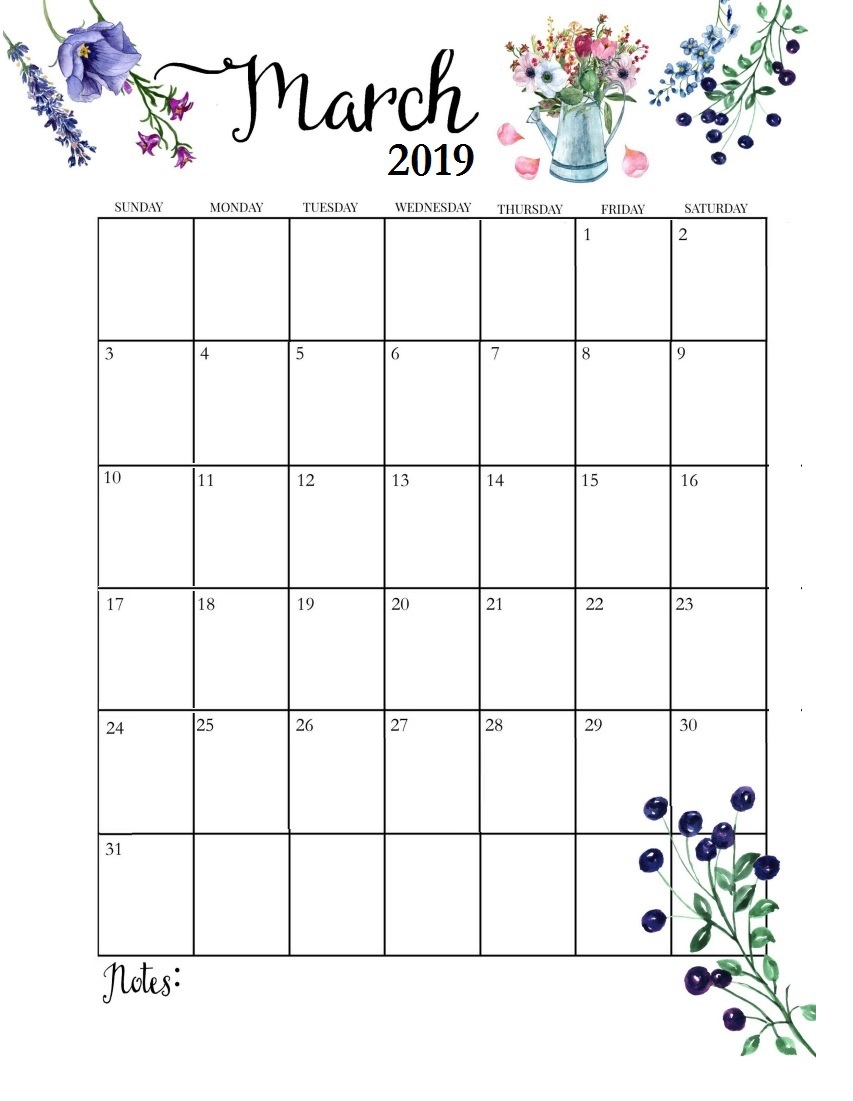 Free March 2019 Wall Calendar
